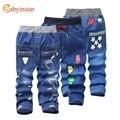 Jeans Para Crianças 2017 Crianças Calças Jeans Da Moda Bebê Menino calças Para O Outono Primavera Crianças Pé Padrão de Impressão Denim Jeans calças
