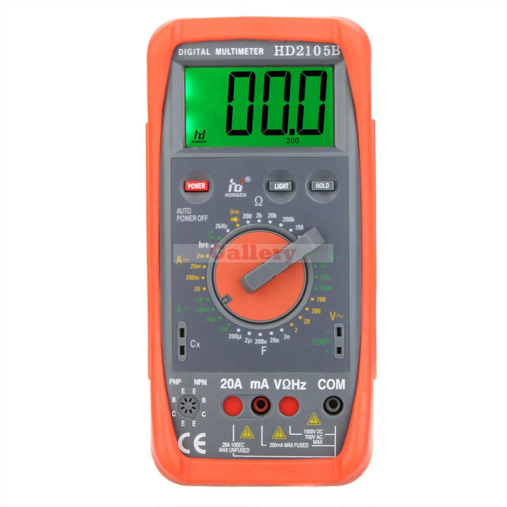 Hd Hd2105b Digital Multimeter Dmm Capacitance Frequency Temperature Meter Tester W Hfe & Lcd Backlight Professional new lcd digital lcd frequency counter meter herz tester cymometer 10hz 199 9hz blue backlight