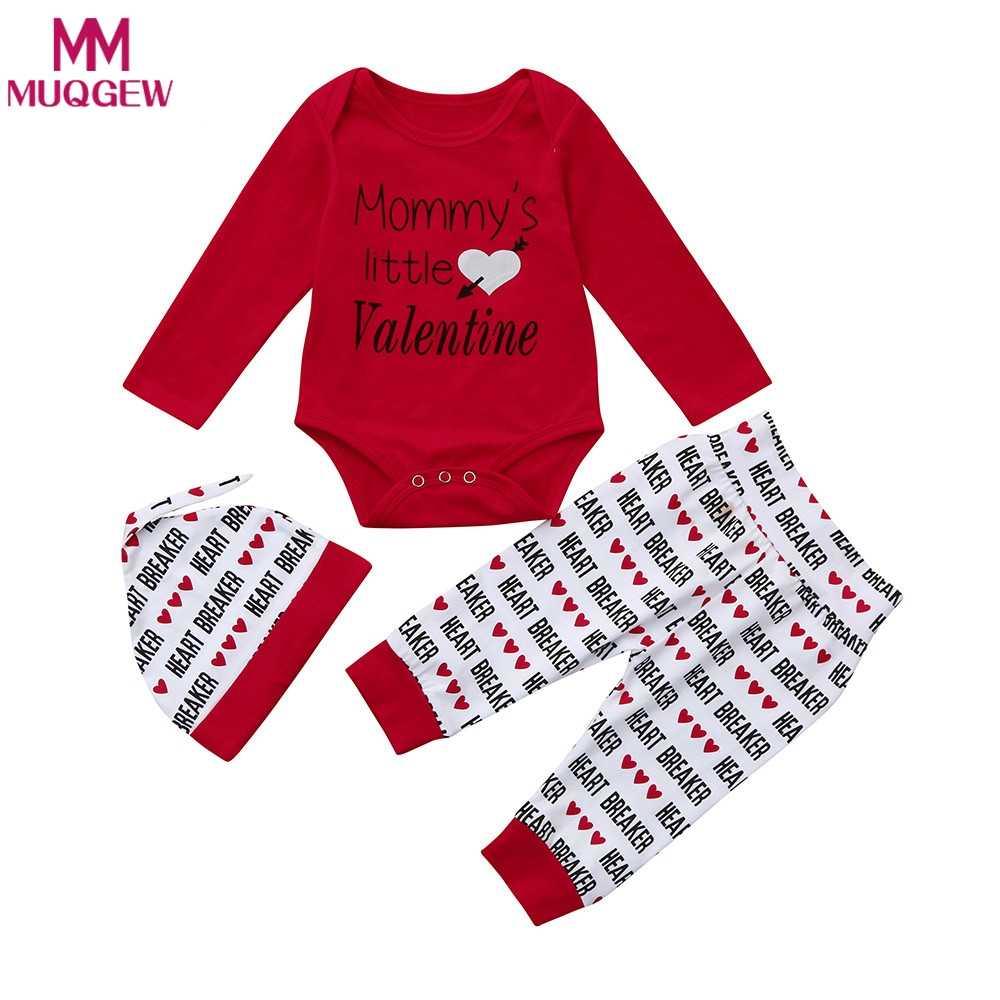 3af9b0df 3Pcs/set warm Newborn Infant Baby Boy Letter mommy's little Valentine Romper  +Pants+