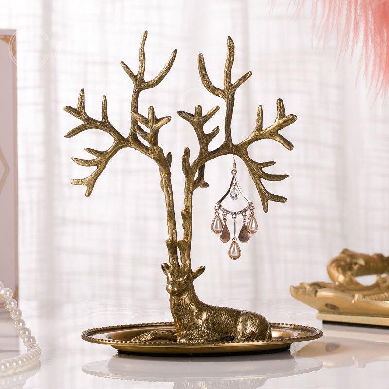 Cocostyles InsFashion plateau à bijoux milu en laiton fait main de style européen royal pour le rangement de la commode et les ornements décoratifs
