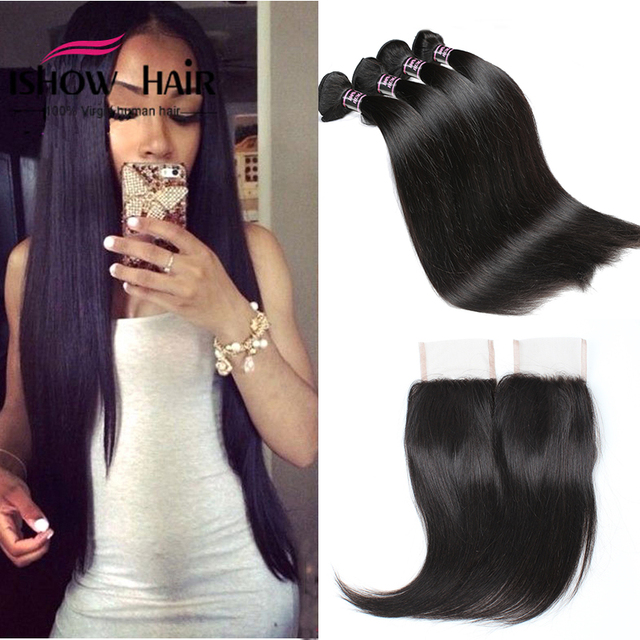 Malaysian Straight Hair with Closure Malaysian Virgin Hair 3 Bundles with Closure Straight 8A Human Hair Weave With Closure