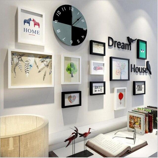 5b842f184 2017 جديد بسيط الحديث الأوروبي إطارات الصور جدار ديكور المنزل حلية البوم  ساعة الحائط ودي ديكورات