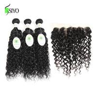 Siyo Water Wave Hair Human Hair 3 Bundles With Lace Frontal Closure Natural Color Brazilian Hair