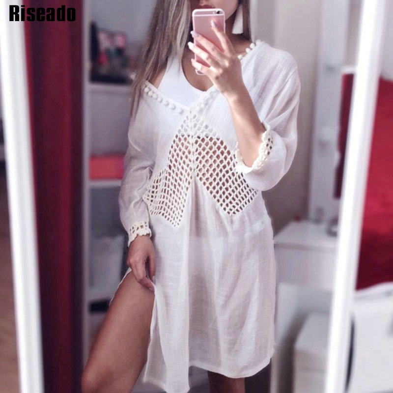 Riseado 2019 Sexy Long Beach Dress Bikinis Swimwear Women Cover Ups Hollow Out Swimsuit Bathing Suits Deep V Neck Beachwear