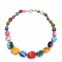 Geometric Shape Natural Stone Beads Strand Necklace Charm Jewelry Pendant Genuine Agates Gem Stone Beaded Necklaces Party Gifts
