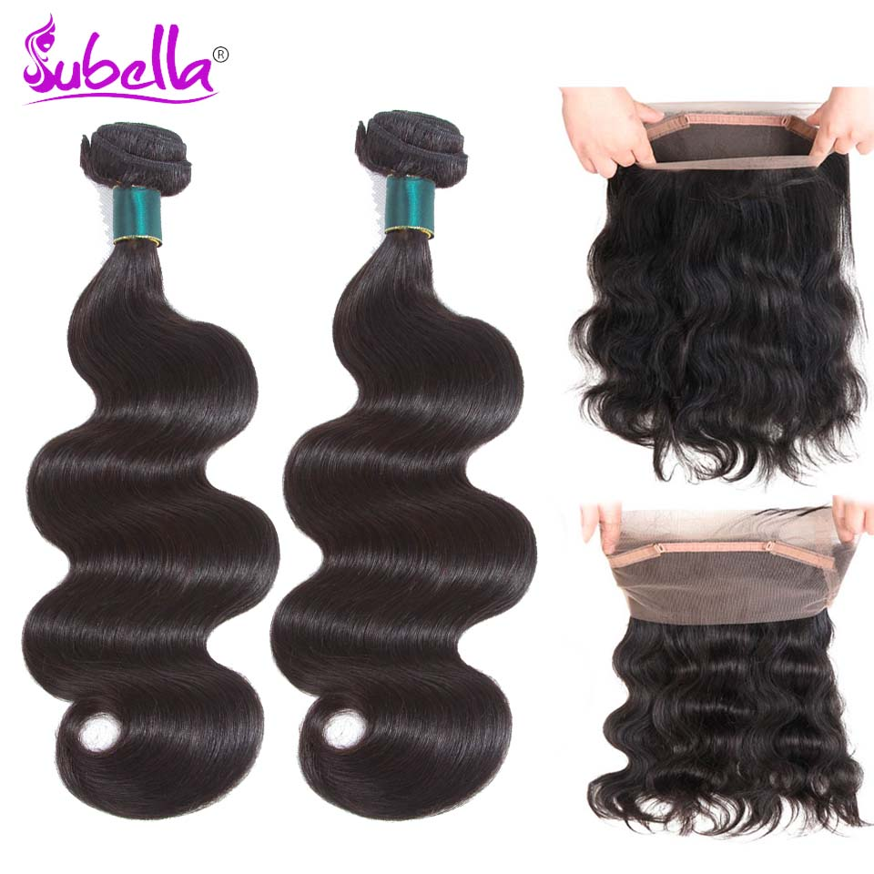 Subella Peruvian Human Hair Body Wave Weave 2 Bundles With Lace Frontal Closure 360 Lace Frontal With Bundles Non Remy
