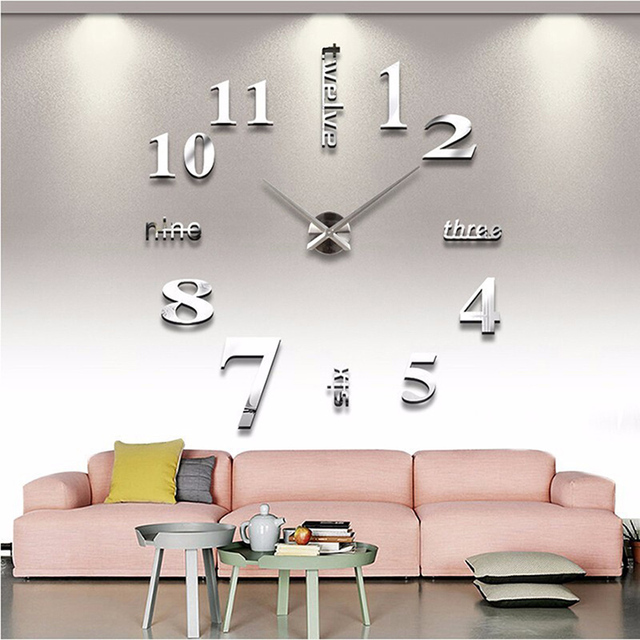 Factory Price! Modern DIY Large Wall Clock 3D Mirror Surface Sticker Home Decor Art Design