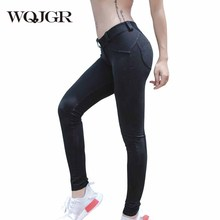 WQJGR 2019 news skinny pants women elastic to improve hip sexy full length trousers black and gray
