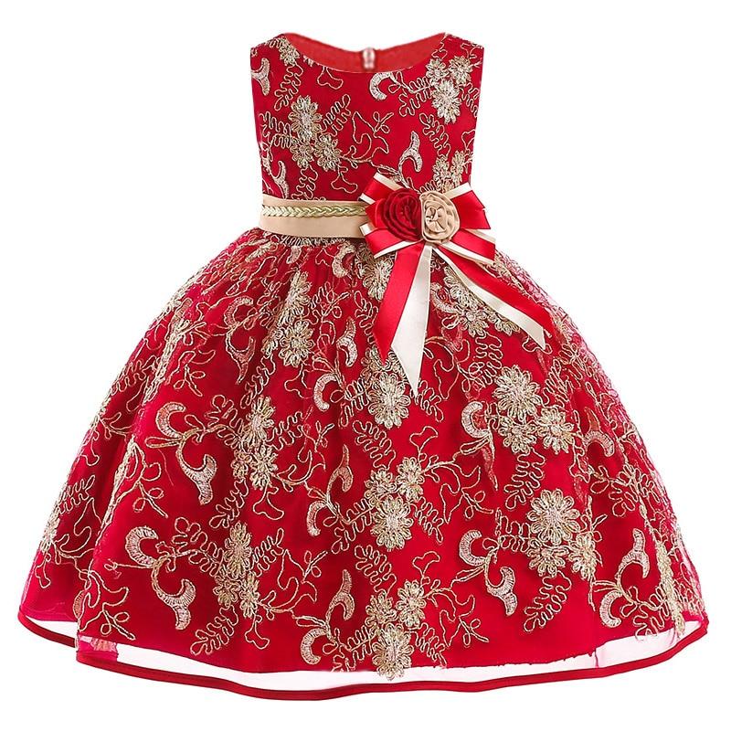 12yrs New baby Big bow tutu princess dress for girl elegant flower birthday party girl dress Baby girl's christmas clothes