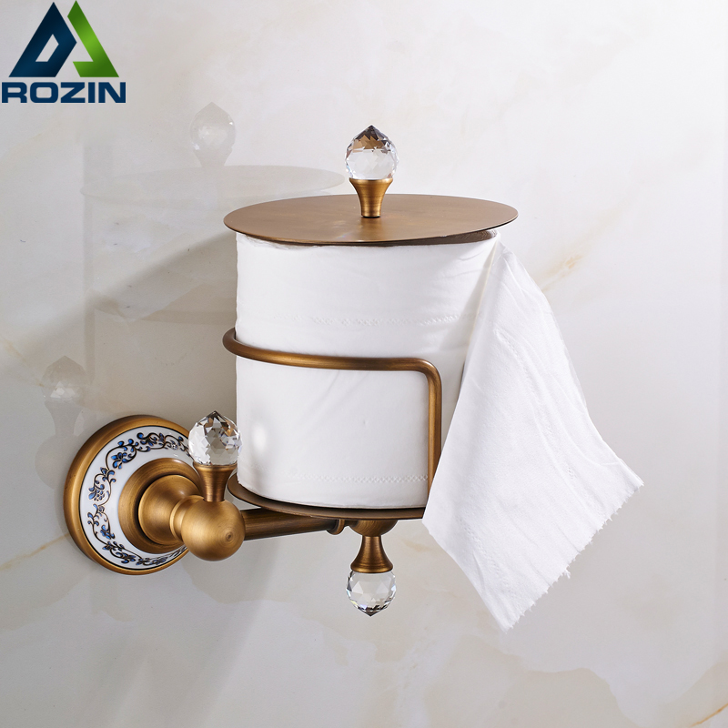 Free Shipping Wall Standing Toilet Paper Holder Antique Brass Ceramic Bathroom Roll Paper Tissue Rack bathroom accessory antique brass wall mounted copper toilet paper roll holder free shipping aba037