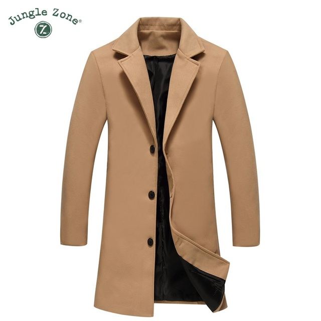 Man Wool Jacket Long High Quality Casual Business Single Breasted Button Male Trench Pockets Overcoat Men Woolen Coat