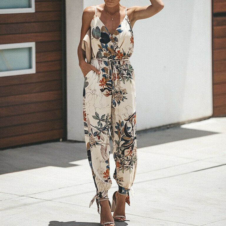 2019 Summer Women Holiday Casual Sleeveless Jumpsuits Fashion Ladies Boho Floral Bodysuit Wide Leg Loose Long Pants Trousers(China)
