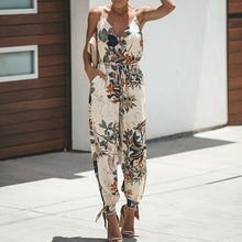 Women Summer Holiday Casual Sleeveless Jumpsuits Fashion Ladies Boho Floral Body