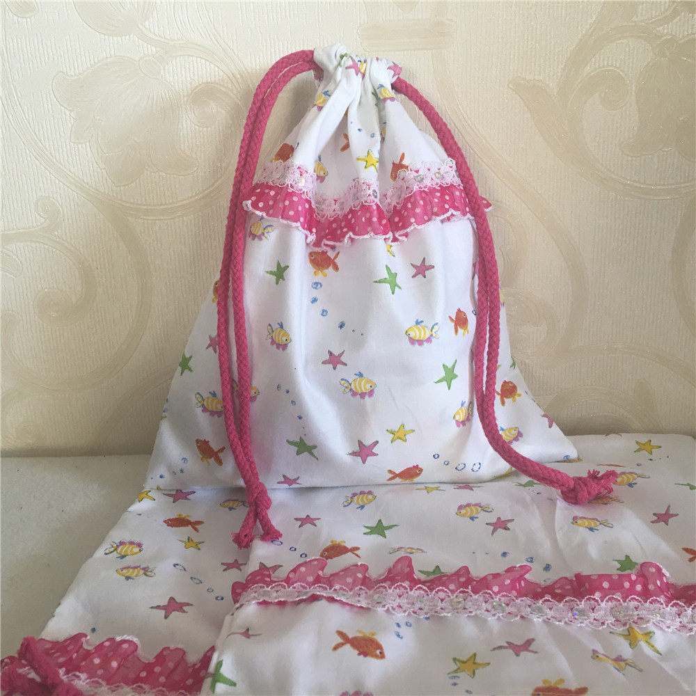 YILE Cotton Drawstring Trim Bag Multi-purpose Bag Print Mini Fish Party Gift Bag 8609