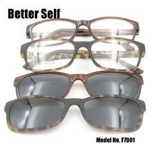 F7001 Square Eyeglasses Ultem Metal Glasses Clip On Sunglasses Light Outdoor Eyewear Quality UV400 Polarized Shades