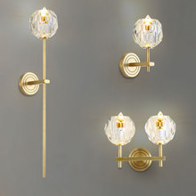 Modern Single / Dual Heads Big Ball Crystal LED Wall Mount Lamp with Golden Plated Brass Sconce Balcony Bedside