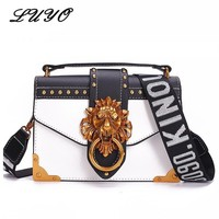 Fashion Metal Lion Head Mini Small Flap Shoulder Crossbody Bag For Female Luxury Handbags Women Bags Designer Bolso Mujer Clutch