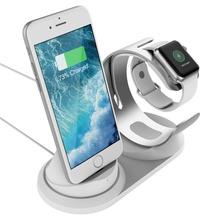 цена на 2 in 1 desk Charging dock station for Apple Watch stand support Aluminum table charger stand phone holder for iPhone charge
