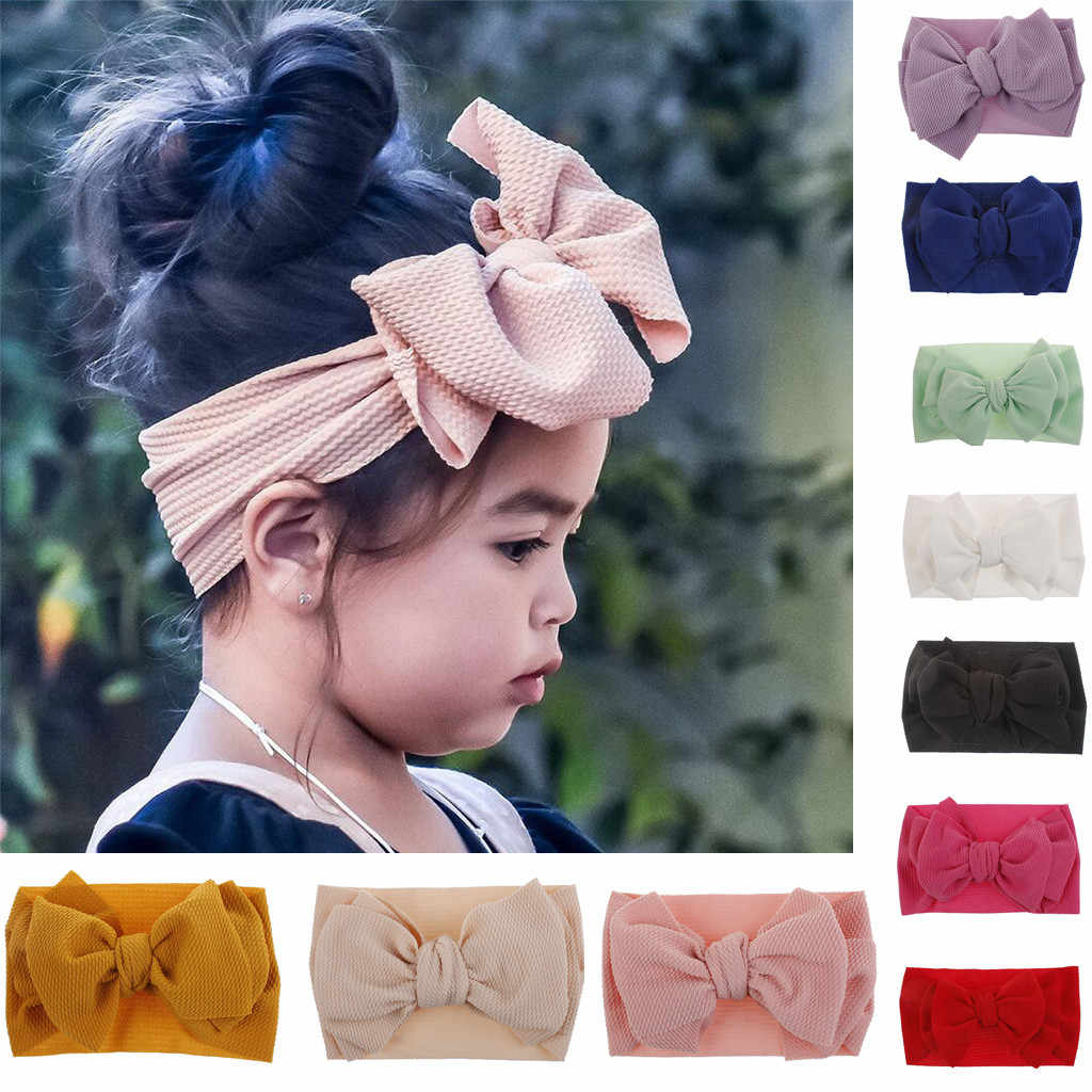 Toddler Baby Girl Bowknot Headband Kids Girl Big Bow Hairband Solid Color Turban Knot Cute Headband Fashion Headwear Accessories