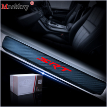 For JEEP Grand Cherokee SRT Carbon Fiber Vinyl Sticker Car Door Sill Protector Step Plate Accessories 4Pcs