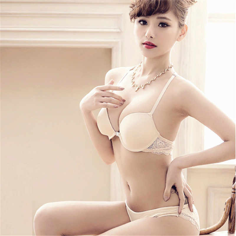 4bdeb4f9ff1bf ... Womens Front Closure Lace Racer Back Racerback Push Up Bras Seamless Bra  +Thong ...