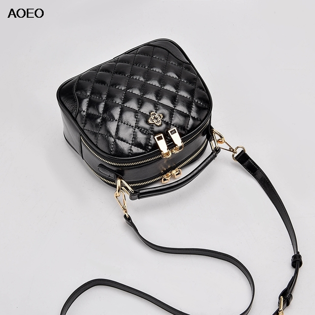AOEO Fashion Large Capacity Handbags Women Shoulder Bag Ladies Diamond Lattice Split Leather Girl Crossobdy Messenger Bag Female