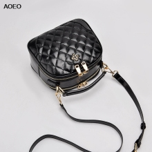 AOEO Fashion Large Capacity Handbags Women Shoulder Bag Ladies Diamond Lattice Split Leather Girl Crossobdy Messenger Female