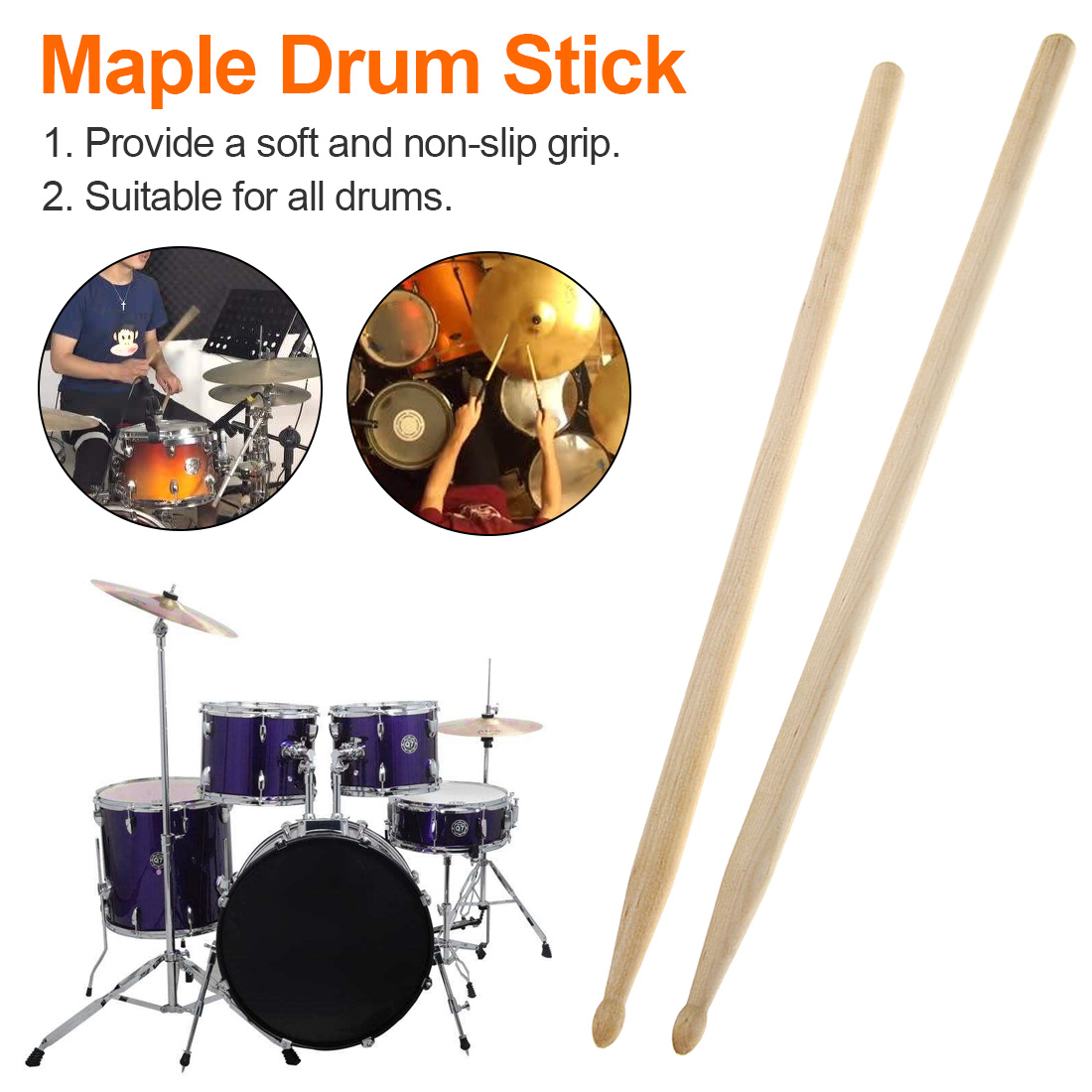 New Arrival 1 Pair Maple 5A Size Maple Wood Drumsticks Stick For Drum Set Lightweight Wood Color Drum Sticks Musical Aparts