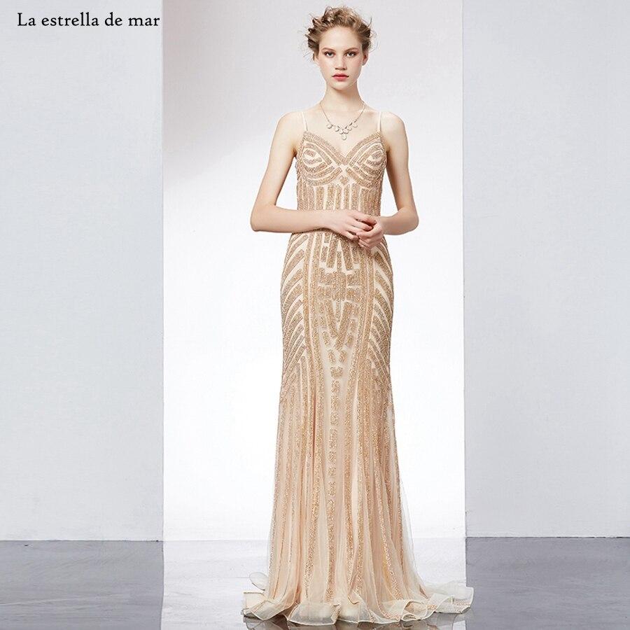 new concept f175d f2bd4 US $151.2 20% OFF|Abiti da cerimonia da sera2019 new lace crystal V neck  sexy mermaid gold moroccan kaftan long real photo luxury abiye-in Evening  ...