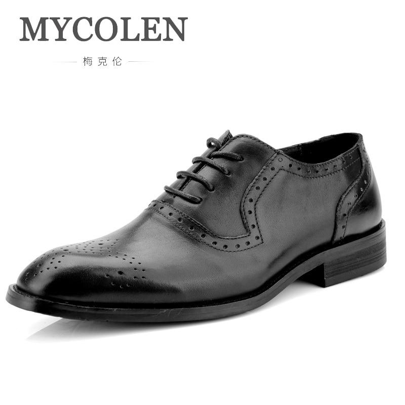 MYCOLEN Retro Bullock Design Men Classic Business Pointed Toe Leather Mens Formal Shoes Large Size Spring/Autumn Herenschoenen
