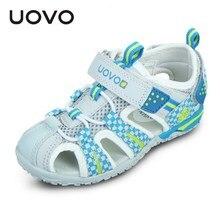 Uovo/Новые летние пляжные сандалии с закрытым носком; детская обувь; EU26-36 для мальчиков и девочек; камуфляжные детские плоские сандалии с цветами; нескользящие