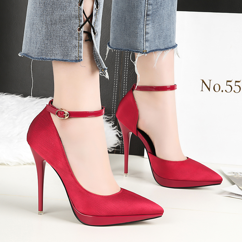 2018 Summer Women 12cm Thin Extreme High Heels Satin Silk Pumps Female Elegant Sweet Heels Shoes Scarpins Buckle Cheap Shoes 17