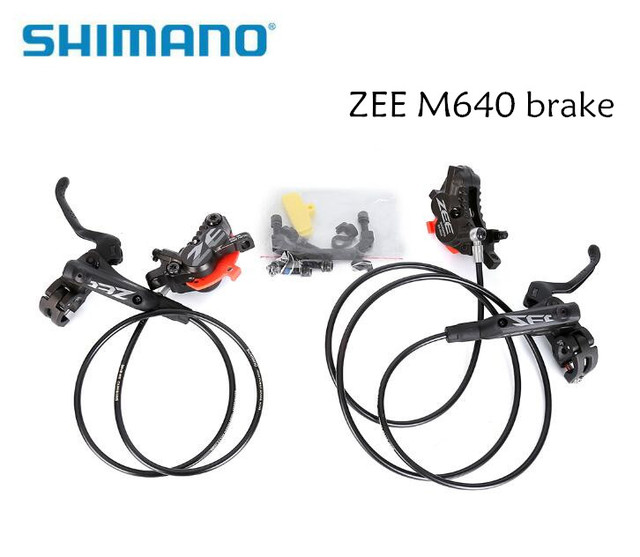 3b8f961ad25 SHIMANO ZEE M640 4 Piston Metal Cooling Fins Hydraulic Disc Brake MTB  Mountain Bike Front & Rear Lever and Caliper Bicycle parts