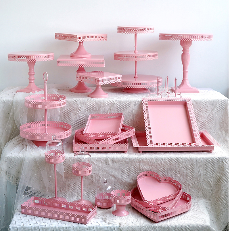 SWEETGO Pink Cake Stand Cupcake Tray Birdcage Birthday Cake Tools Home Decoration Candy Bar Dessert Table Party Supplier
