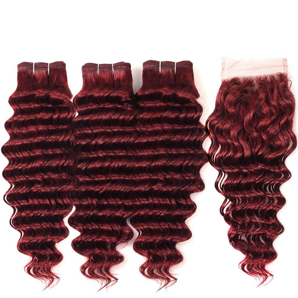 Human Hair Weaves Lovely Jsdshine Peruvian Deep Wave Human Hair 1 Bundle Burgundy Hair Bundles 99j Color Non-remy Hair Weave No Tangle Free Shipping