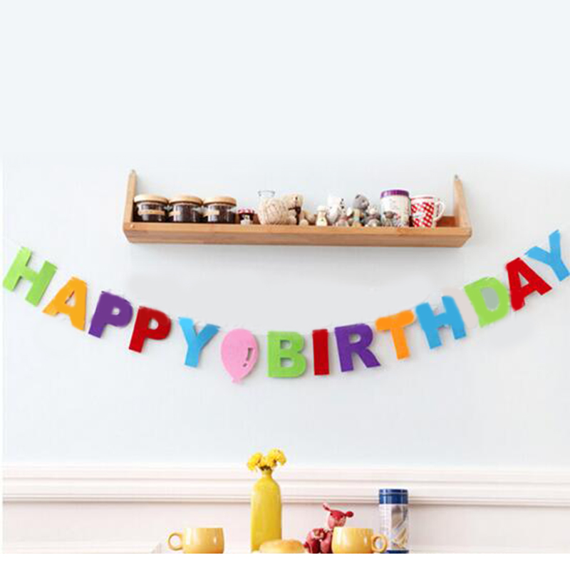 3 M dokunmamış Kumaş Mutlu Doğum Günü Mektup Bayrakları Afiş Bunting Garlands Için Çocuklar Oğlan Kız Bebek Doğum Günü Partisi ev Dekorasyon