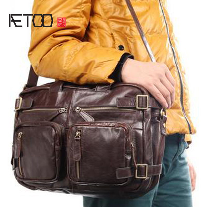 AETOO The first layer of leather men's handbag three packs of tide cool shoulder Messenger bag travel mountaineering aetoo first layer of leather korean version of the tide ladies oil wax leather handbag ladies shoulder messenger bag