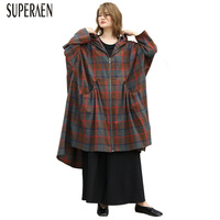 SuperAen Fashion Trench Coat for Women Wild Casual Hooded Plaid Cotton Ladies Windbreaker Spring New 2019 Women Clothing
