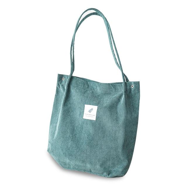 High Capacity Women Corduroy Tote Ladies Casual Shoulder Bag Foldable Reusable Shopping Beach Bag WML99 1