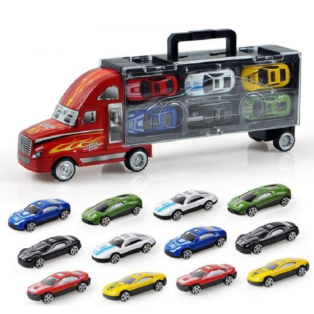 Free Shipping 13pcs Truck and Cars Small Alloy Models Toy Car Children Educational Toys Simulation Model Gift For Boys