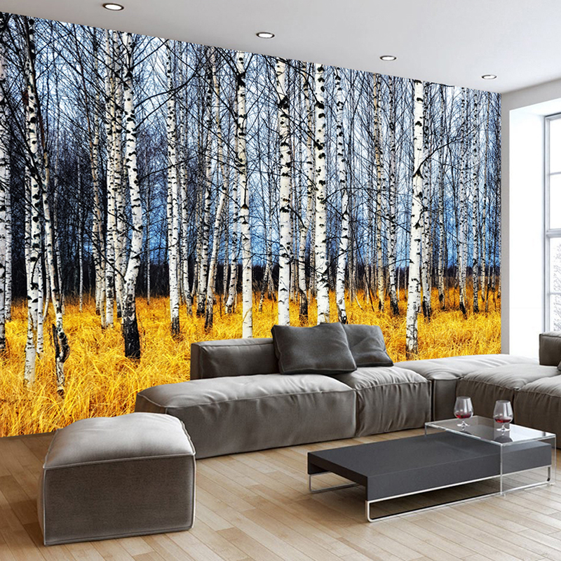Custom 3D Photo Wallpaper Autumn White Birch Forest Living Room Bedroom 3D Large Wall Mural Wallpaper Modern Painting Home Decor