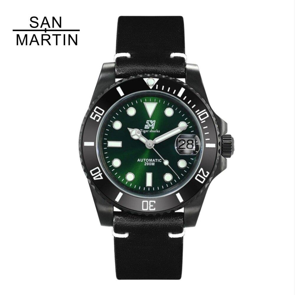 San Martin Femmes montre automatique homme De Mode montre noire 200 m résistant à l'eau Relojes Hombre 2018 décontracté Montre Sport bracelet de l'otan