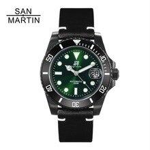 San Martin Женские Мужские автоматические часы модные черные часы 200 м водонепроницаемые Relojes Hombre 2018 повседневные часы спортивные часы Nato ремешок