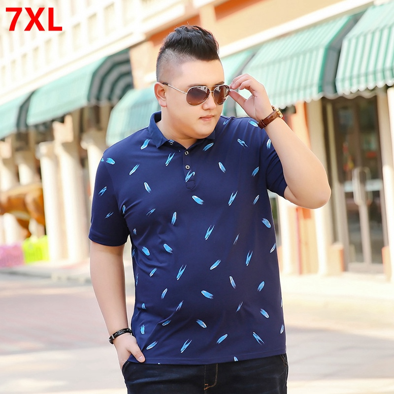 New business casual   Polos   large size men's lapel short-sleeved men's tide   Polos   summer loose