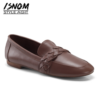 ISNO Weave Women Flats Square Toe Footwear Flat With Ladies Shoes Genuine Leather Fashion Casual Shoes Woman 2019 Spring New