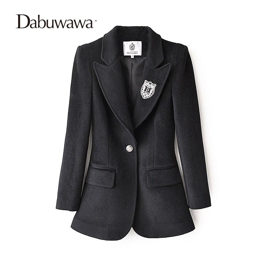 Dabuwawa黒冬カジュアル女性ブレザーやジャケットブレザーfemininoコートレディースブレザー作業着用