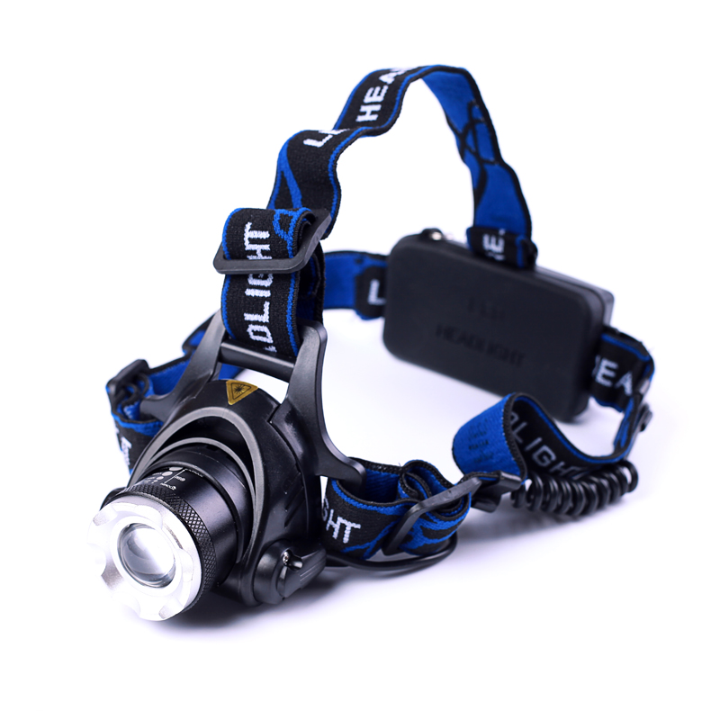 Led Headlight XM L T6 LED 2000LM Headlamp Light Zoomable Lantern Camping Hunting Flashlight Torch With Battery and Charger in Headlamps from Lights Lighting