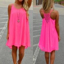 Sexy Hollow Out Loose Mini Dress Women 2019 Summer Spaghetti Strap Beach White Pink Chiffon Boho Dresses Plus Size 3XL Vestidos