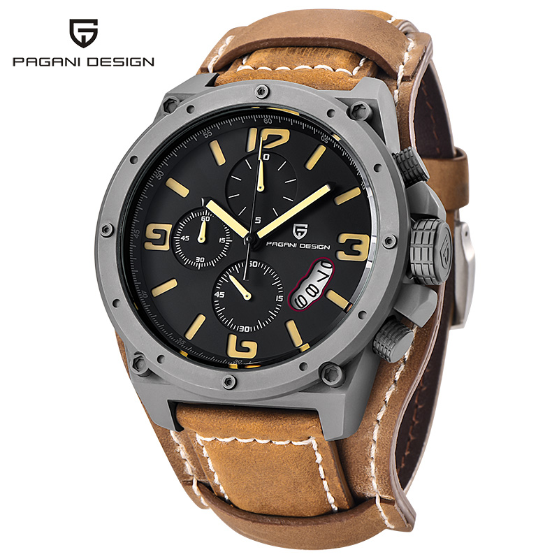 PAGANI DESIGN Fashion sport watches mens steel black big dials leather strap quartz wristwatch men clock male relogio masculino oulm mens designer watches luxury watch male quartz watch 3 small dials leather strap wristwatch relogio masculino