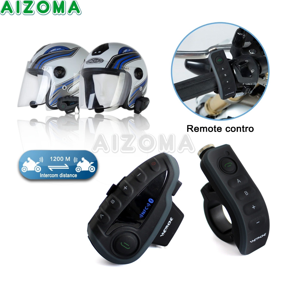 цена на Motorcycle Bluetooth Helmet Headset Intercom Waterproof Headphone Kit 1200M Remote V8 Intercomunicador BT Interphone Speakers